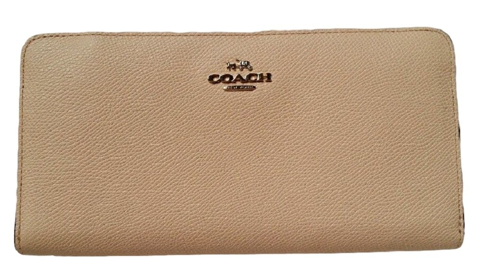 COACH Colorblock Crossgrain Leather Accordion Zip Wallet in Gold / Apricot / Coral 52976 by Coach