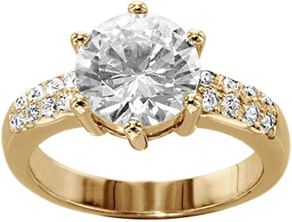 So Chic Jewels Ladies White Cubic Zirconia Solitaire Engagement Ring Vermeil 18k Gold over 925 Sterling Silver Silver Gilt