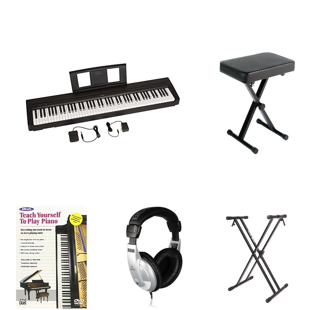 Yamaha P-45 Digital Piano Bundle with Padded Keyboard Bench, Teach Yourself to Play DVD, Polish Cloth, Behringer Headphones, and Piano Stand