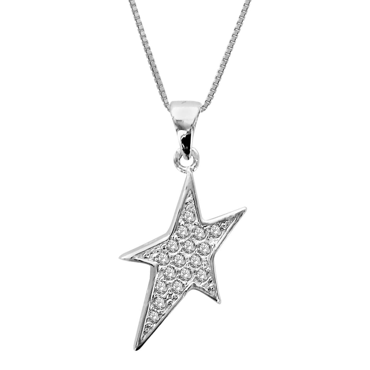 925 Sterling Silver Star Pendant with Cubic Zirconia So Chic Jewels