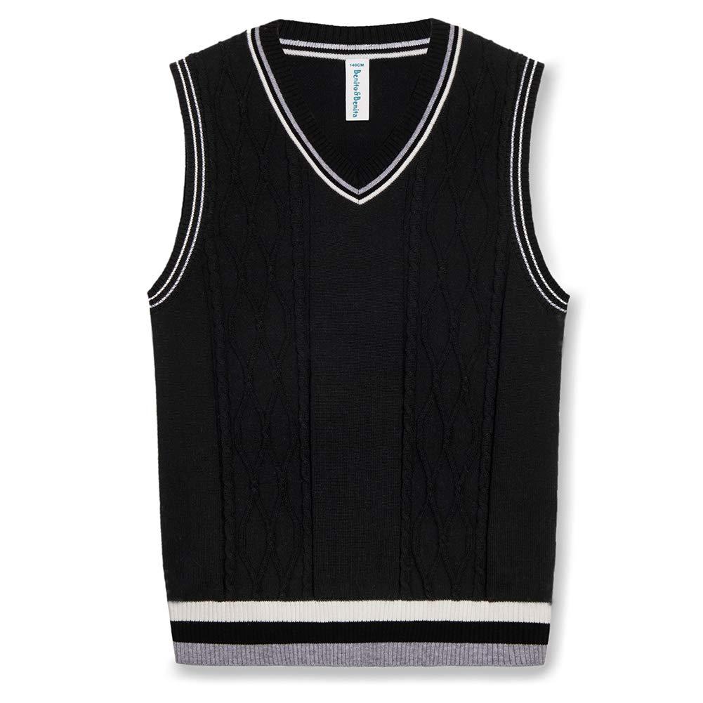 Happy Cherry Sweater Vest School V-Neck Uniform Cotton Knit Pullover for Boy Girl