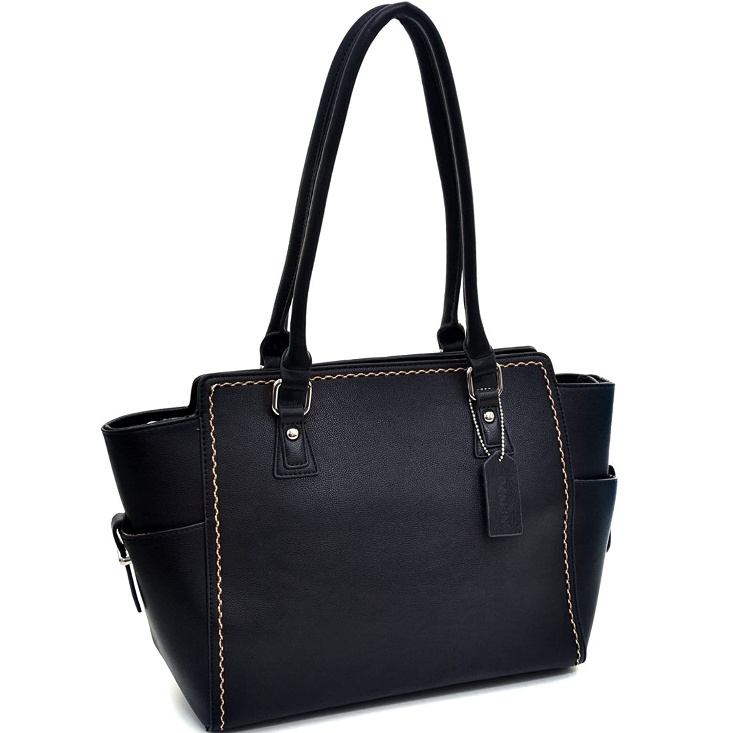 Dasein Classic Stitched Faux Leather Shoulder Bag