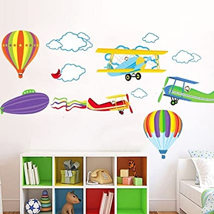 BIBITIME Removable Balloon Airplane Wall Stickers Children Kids Boys  Bedroom Decal Art
