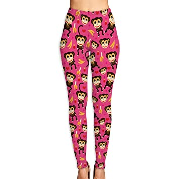 cc08a72290783 ETQYB Cute Nursery Monkey and Banana Women Adult Slim Waist Yoga Workout  Pant Sexy Workout Leggings