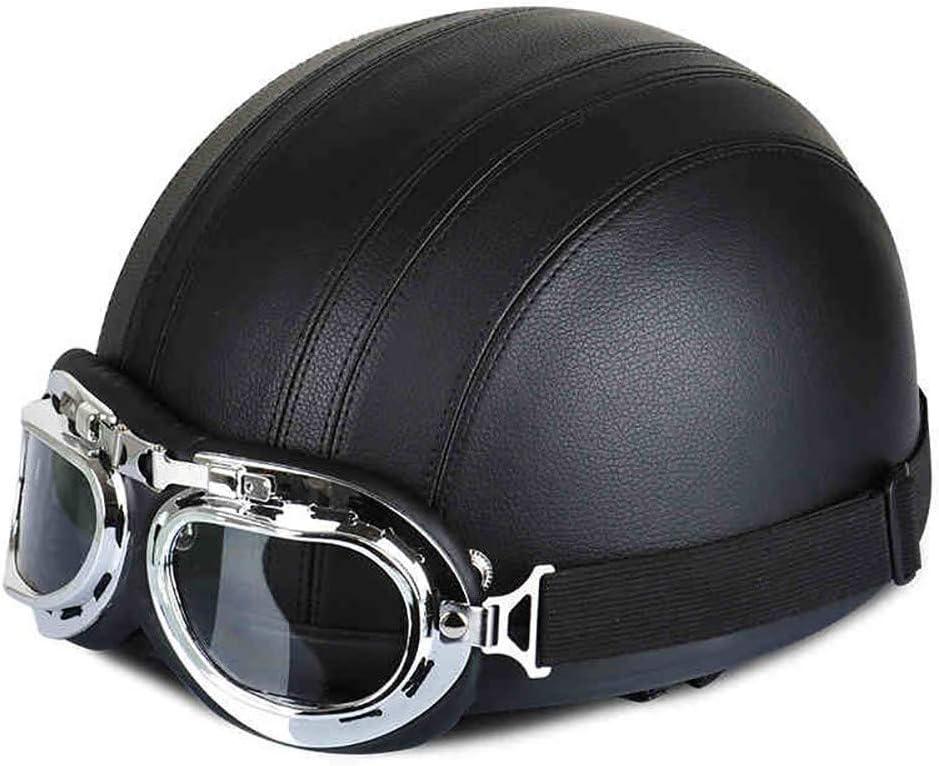 MTTKTTBD Retro Harley Motorradhelm Halbhelme,Erwachsene Jethelme mit Brille,Professionel Motorradhelm f/ür Damen Herren Street Bike Cruiser Chopper Moped Scooter