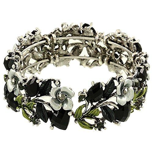 - Falari Vintage Flower Bracelet Bangle Crystal Beads Hand-Painted Black BG401-ASBK