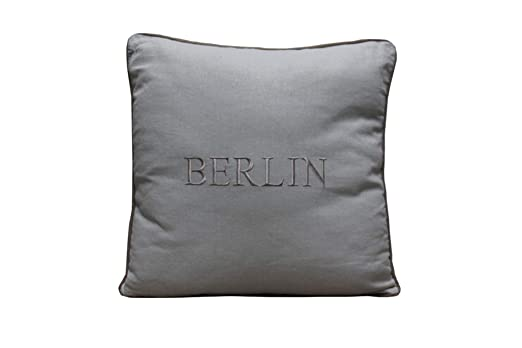 Cojín 45 x 45 cm blanco y beige BERLIN Sitzkisssen relleno ...