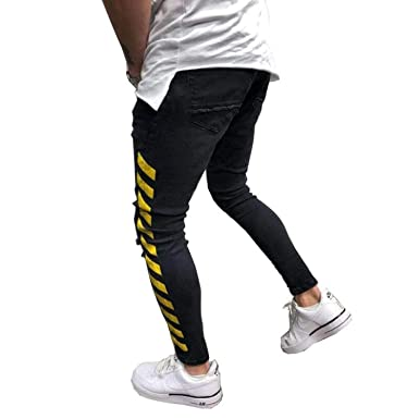 e0a9a6a8225 Men's Black Jeans Yellow Side Stripes Hip Hop Streetwear Raw Edge Ripped Skinny  Fit Printed Street Fashion at Amazon Men's Clothing store: