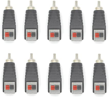 10pcs Red White Solder Type RCA Phono Female Audio Video Cable Adapter Connector