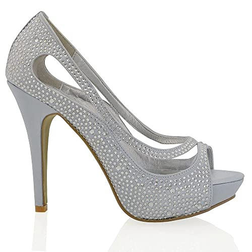 ESSEX GLAM Scarpa Sposa Peep Toe Finto Diamante Tacco Alto Plateau   Amazon.it  Scarpe e borse 27ea6ca547a