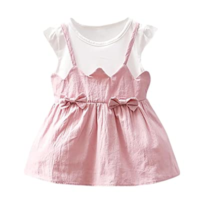 8cd2af50d125 Kehen Newborn Infant Baby Girl Bowknot Patchwork Strap Dress Summer Casual  Mini Dresses