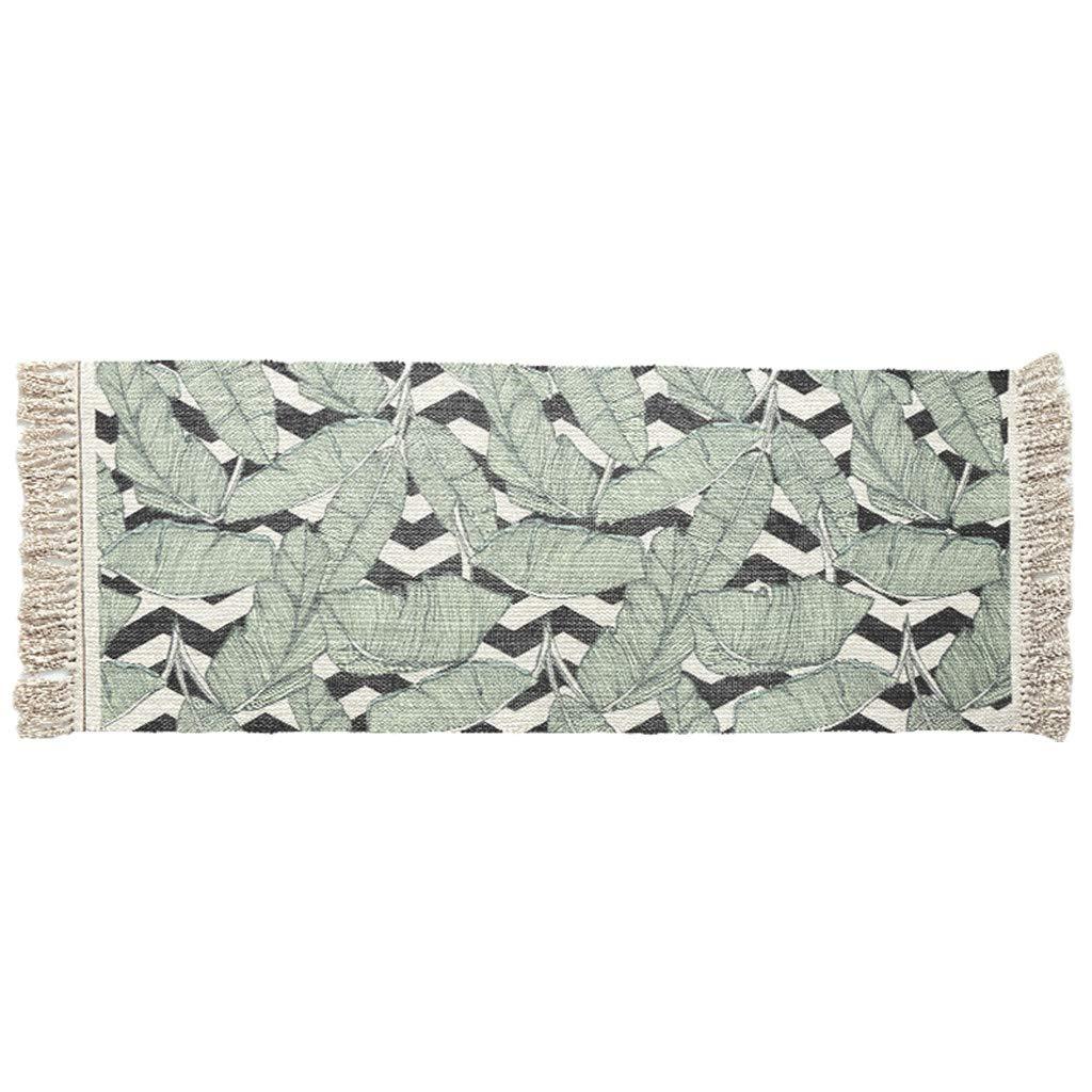Cotton Area Rugs,Muicook Color Geometric Wear-Resistant Pure Cotton Woven Tassel Non-Slip Mats Carpets(D)