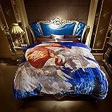 JYK Heavy Korean Mink Fleece Blanket – 2 Ply Reversible 520GSM Silky Soft Plush Warm Blanket for Autumn Winter (Queen, Eagle/Eagle)