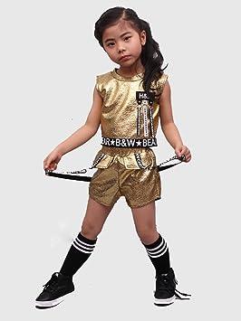 3cc7704f7 tradeonline6688 Kids Jazz Modern Children Dancing Clothes Ballroom Hip Hop  Dance Wear Costume (Gold,