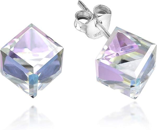 925 Sterling Silver Open Cube Square Box Stud Earrings in Box