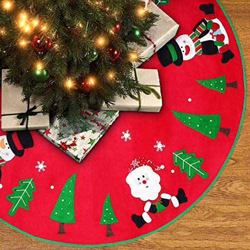 Unomor 42 inch Christmas Tree Skirt with Reindeer, Snowman, Christmas Tree and Snow Flakes for Christmas Decoration Red