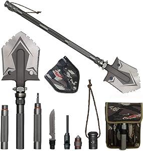 wufang Camping Shovels Multifunctional Military Folding Shovel Outdoor Survival Pocket Tools High Carbon Steel Shovel