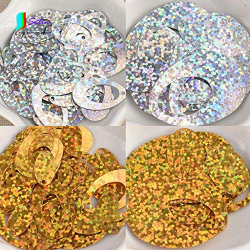 Jienie Elliptical Hollow Laser DIY Sequins Dance Performance Clothes Accessories Jewelry Handmade Accessories Materials A0009F - (Color: Gold, Size: Large) ()