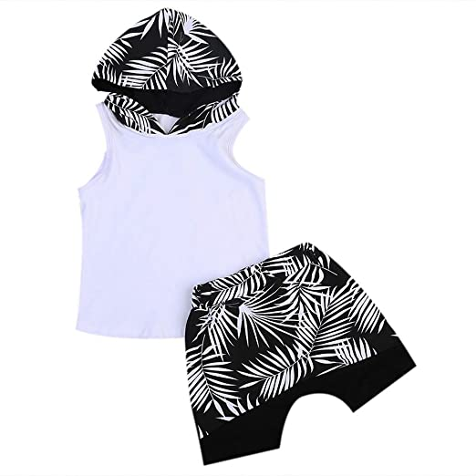 4a814bd63d5 Scfcloth Kids Boys Sleeveless Hoodie Tops + Leaves Print Shorts Outfits Set