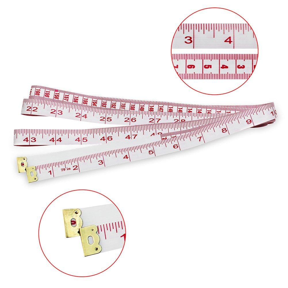 Ma/ßband doppelter Ma/ßstab N/ähen weiches Ma/ßband Medizinische Messung f/ür K/örpergewichtsabnahme flexibel Lineal Schneider Stoff 200 cm bunt 1.6cm/× 2.0 m Wie abgebildet