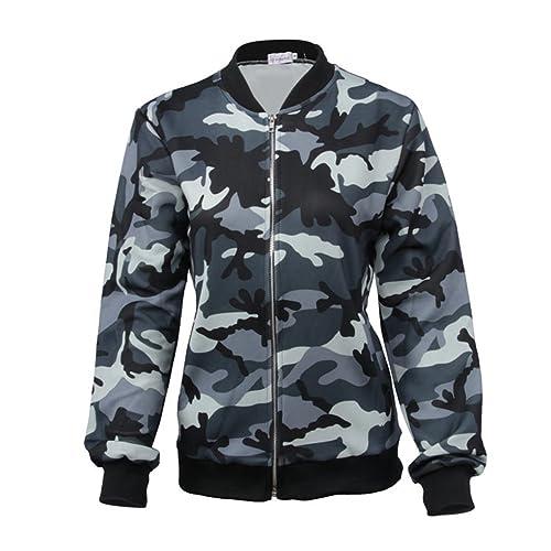 KOROWA Abrigo largo de la chaqueta impresa del camuflaje de la cremallera del cuello redondo de las ...