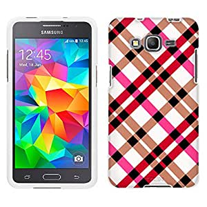 Samsung Galaxy Grand Prime Case, Snap On Cover by Trek Plaid Pink on White Case