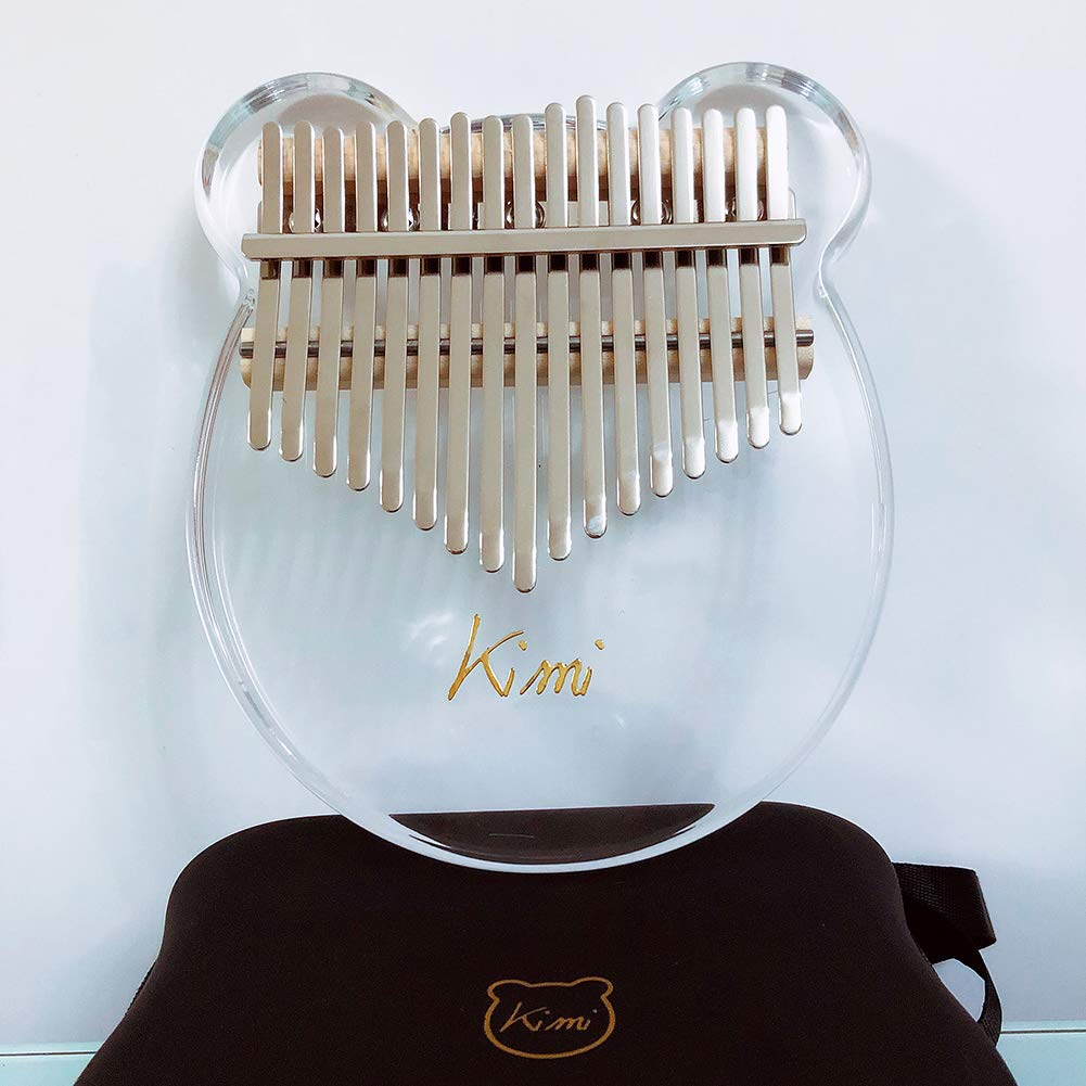 QuTess Finger Piano Kalimba Acrylic 17 key kalimba Thumb Piano 17 Keys Mbira Transparent Keyboard Instrument with Tuner Hammer Gift Bag