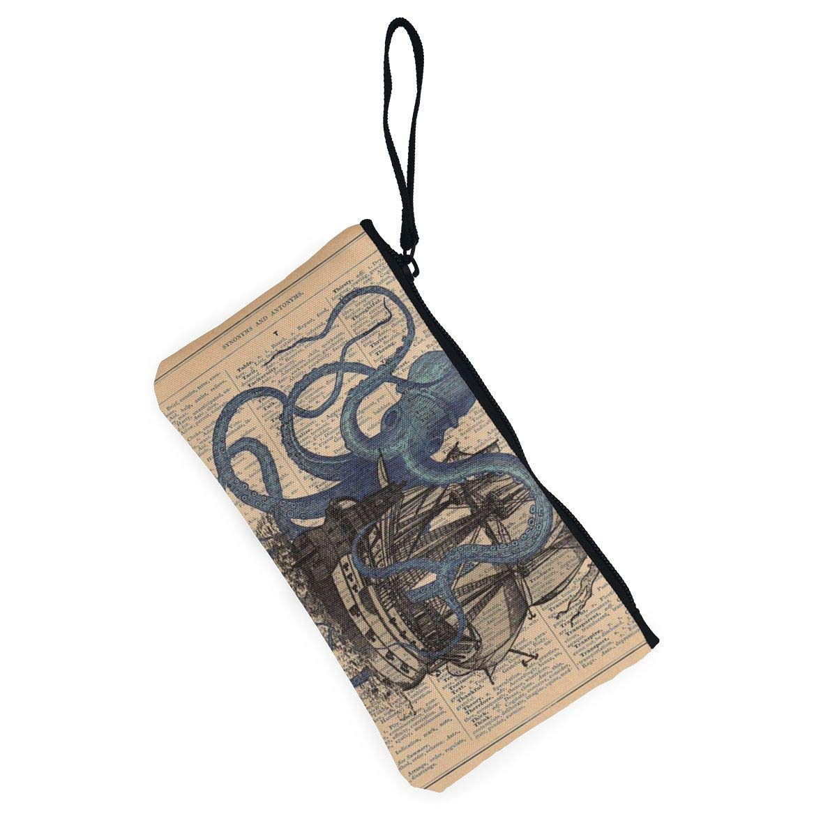 Womens Canvas Zip Around Wallet Ladies Clutch Travel Purse Wrist Strap Ocean Octopus Nautical Boat Pirate Flag