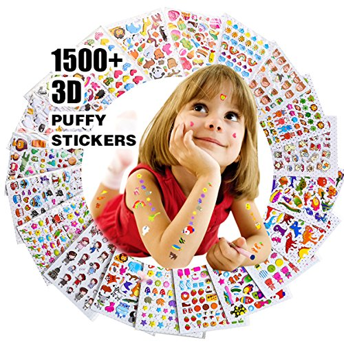 (RENOOK Stickers for Kids 1500+, 20 Different Sheets, 3D Puffy Stickers, Scrapbooking, Bullet Journals, Stickers for Adult, Including Animals, and More,Christmas Stickers for)