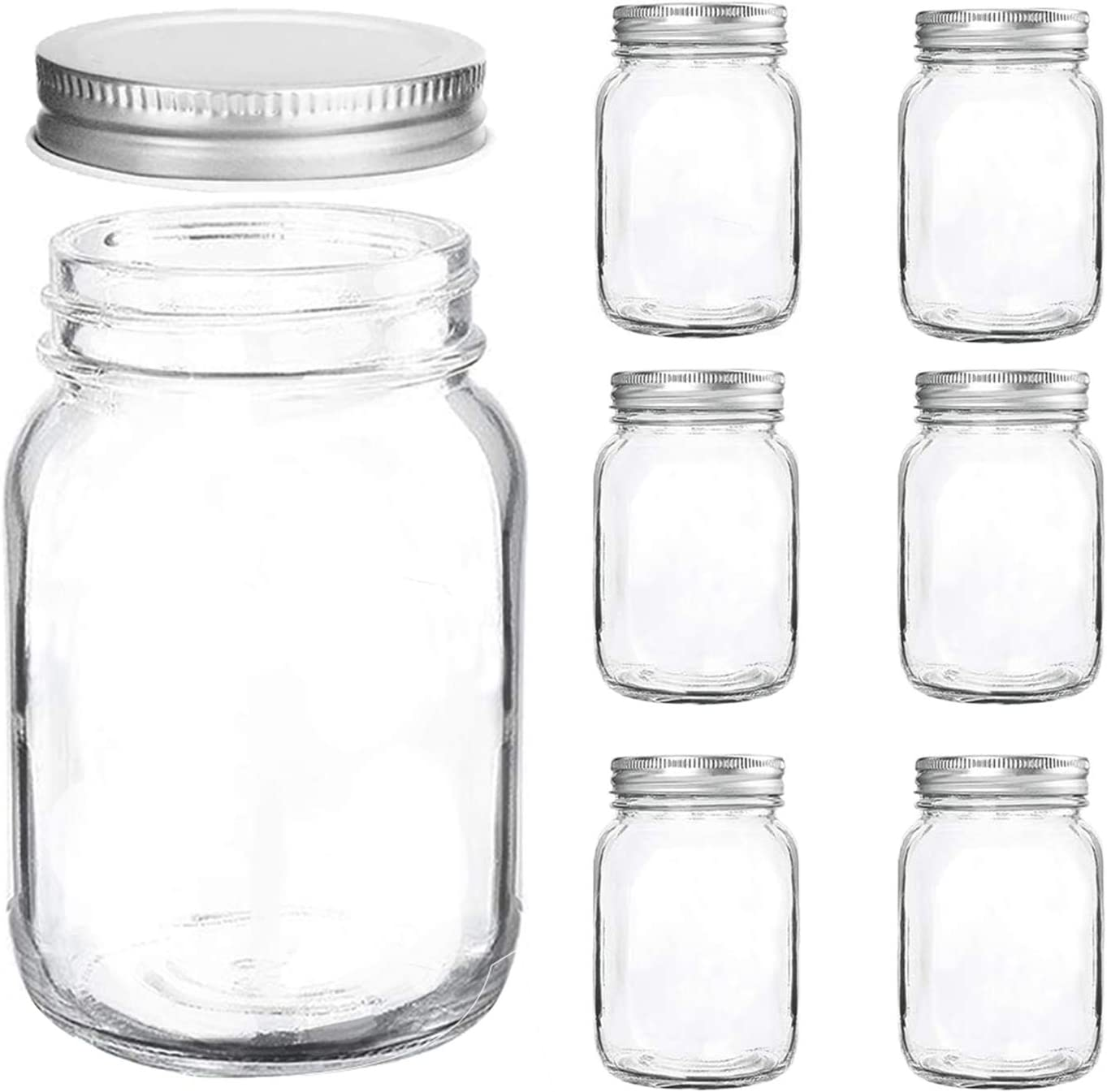 Mason Jars Regular Mouth - 16 oz Clear Glass Jars with Silver Metal Lids for Sealing, Food Storage, Overnight Oats, Jelly, Dry Food, Jam,DIY Magnetic Spice Jars, 6 Pack