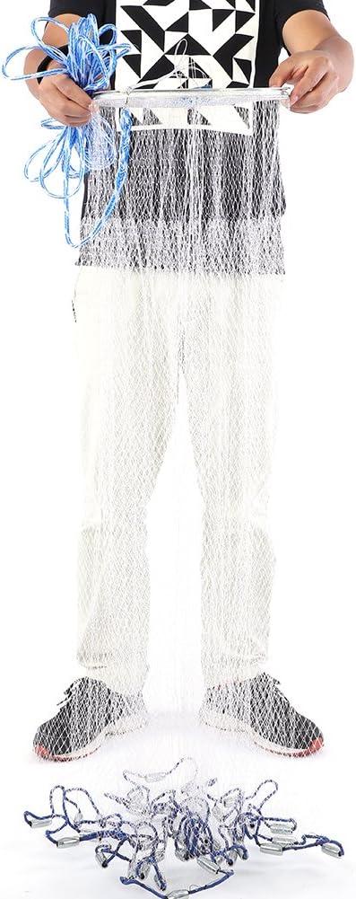 Cocoarm Angeln Wurfnetz Wurfnetz Monofilament Handwurf Angeln Mesh American Style Falle Net Angelzubeh/ör Fisch Wurfnetz mit 8 m Langer Handschnur Zum Fischen Angelnetz Nylon