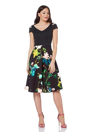 2f5f5bbb4e Roman Originals Women Floral Print Fit and Flare Scuba Dress - Ladies Cold  Shoulder Knee Length