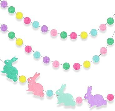 Baby Shower Bunting Pastel Girl Nursery Decoration Easter Felt Ball Garland Spring Mantel Decor Easter Bunny Pom Pom Garland Pastel