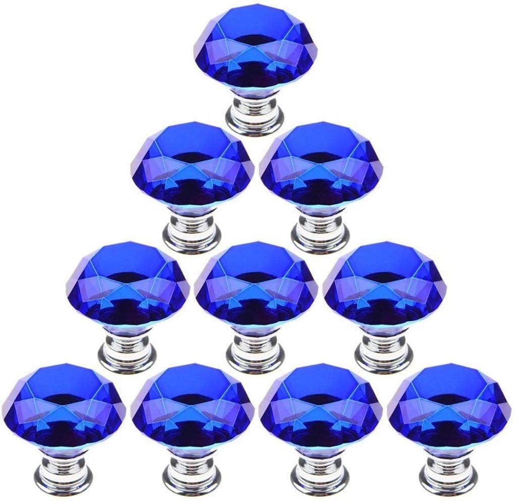 10Piezas Negro Cristal Perillas de Gabinete 30mm Vaso Perillas de las Puertas Alacena Manija del Gabinete Tirador del Caj/ón con Tornillo por SamGreatWorld