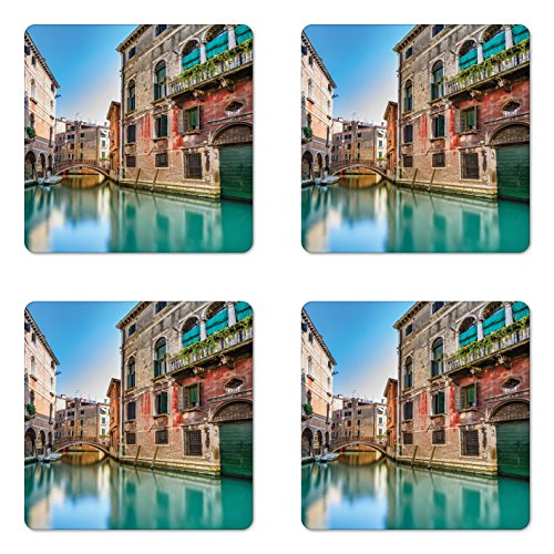 Cheap  Ambesonne Venice Coaster Set Four, Traditional Italian Water Canal Romantic Cityscape Famous..
