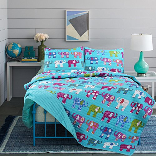 - LO 3 Piece Kids Girls Teal Blue Elephant Themed Quilt Full Queen Set, Cute Purple Bedding Green White Orange Polkadots Safari Zoo Adorable, Microfiber