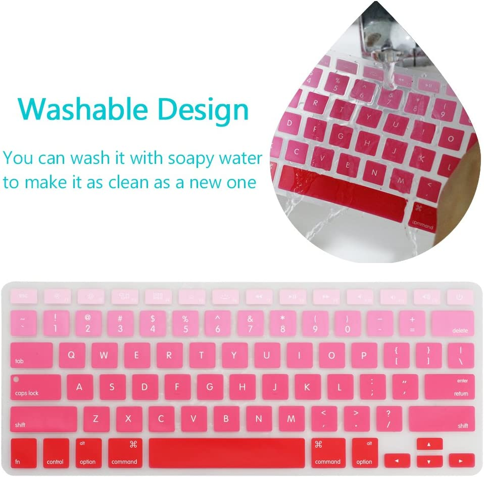 Ombre Blue HIOTECH Keyboard Cover Ombre Color Silicone Material for MacBook Pro 13 MacBook Air 13 /& iMac Wireless Keyboard 17 15