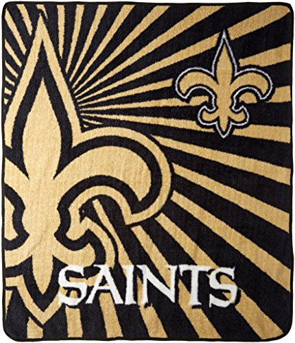 Officially Licensed NFL New Orleans Saints Strobe Sherpa on Sherpa Throw Blanket, 50