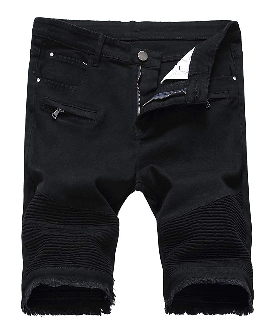 ouxiuli Mens Short Ripped Distressed Jeans Denim Shorts with Broken Hole