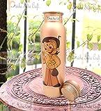Prisha India Craft Digital Printed Pure Copper Water Bottle Kids School Water Bottle - Chhota Bheem Design, 1000 ML