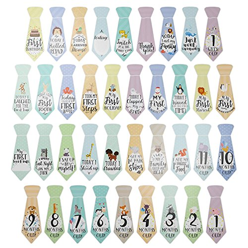 "38 Baby Milestone""First Year"" Necktie Stickers – Best Baby"