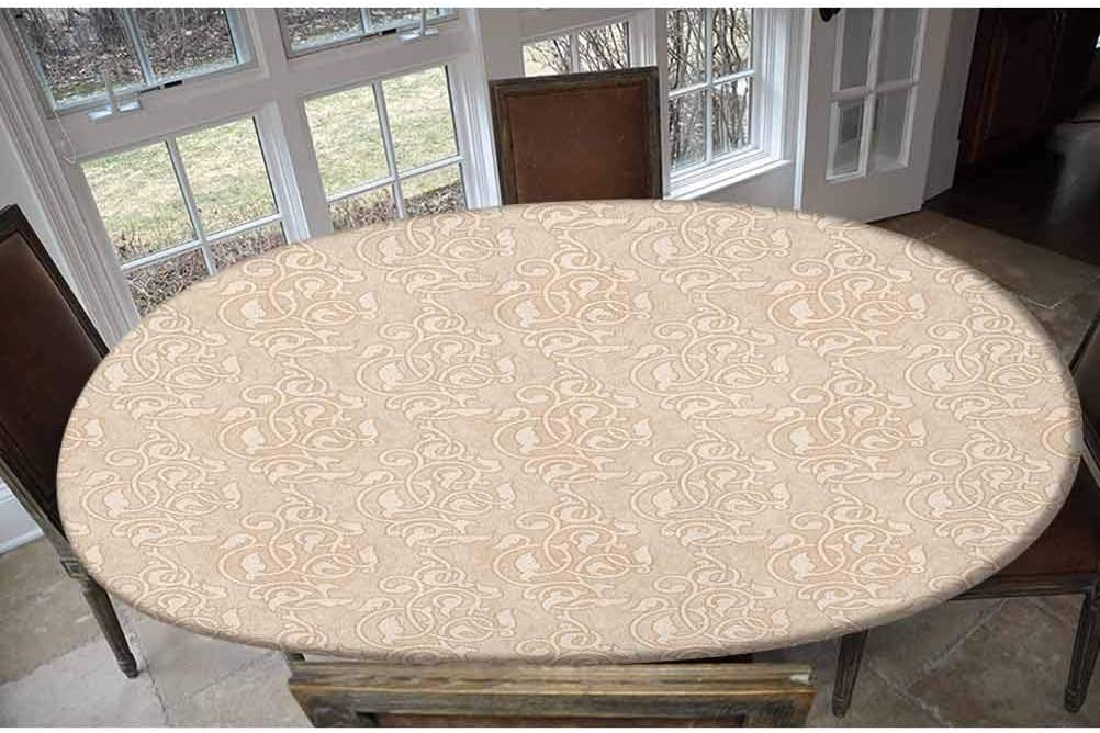 Elastic Polyester Fitted Table Cover,Swirling Seed and Flower Patterns in Antique Style Oriental Motifs Nature Garden Print Oblong/Oval Elastic Fitted Tablecloth,Fits Tables up to 48
