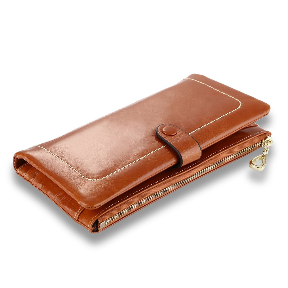 Q-YEE New Women's Wallet,Large Capacity Leather Wallet,Long Zipper Clutch Wallet