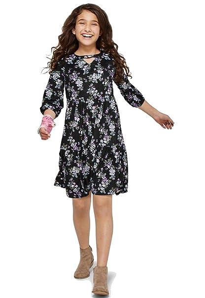 586ae026b0f5 Amazon.com  Justice Criss Cross Bell Sleeve Dress Floral Dark Green ...