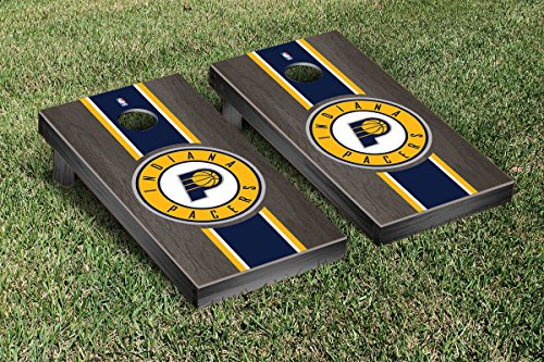 Indiana Pacers NBA Regulation Cornhole Game Set Onyx Stained Stripe Version by Victory Tailgate