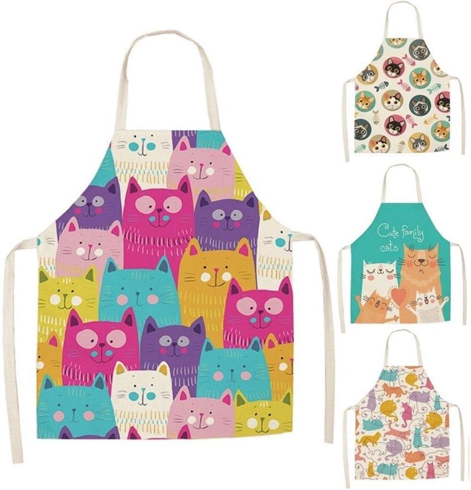 Cartoon Cat Print Kitchen Apron Home Cleaning Tool Cotton Linen Sleeveless Apron