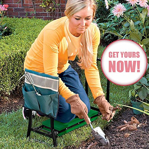 Master Gardener | Heavy Duty Steel and Soft EVA Pads Extra Wide Portable Garden Kneeler Stool Cushion Seat with Maximum Load Up to 330.7 Lbs | Black and Green