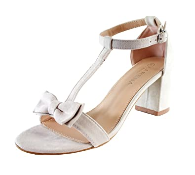 d8b366fecfd Larena Fashion New Womens Mid Block Heel Sandals Bow T-Bar Ankle Strap  Summer Shoes