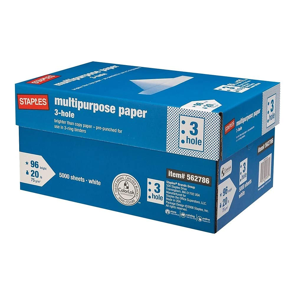 StaplesMulti-Purpose Paper; 8-1/2x11; Letter Size; 3 Hole Punch by STAPLES