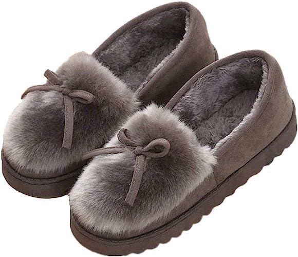 Minetom Mujer Zapatillas Zapatos De Mocasín Invierno Calienta Comodidad Pantuflas Slipper De Algodon Slip On ...